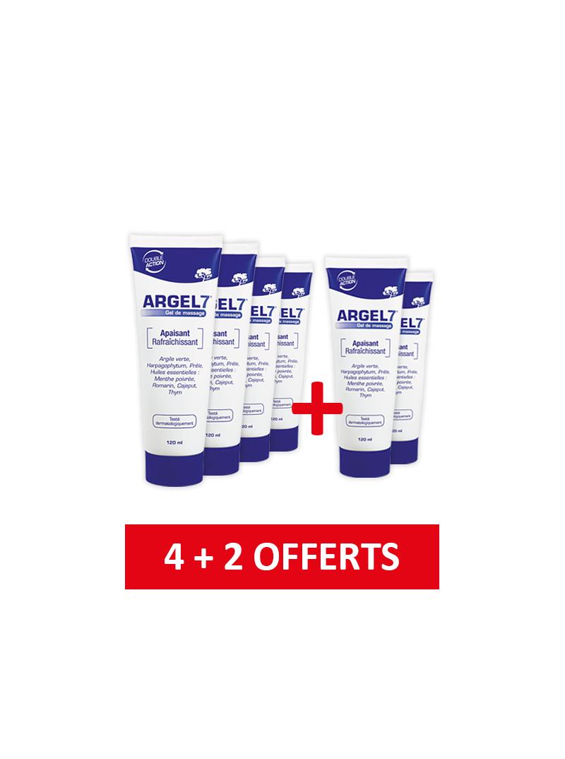 4 Tubes Argel 7 ® + 2 Gratuits - Gel de Massage - Lot de 6